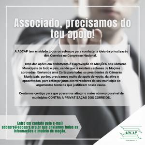 Read more about the article Moções contra a privatização dos Correios – Associado precisamos do teu apoio!